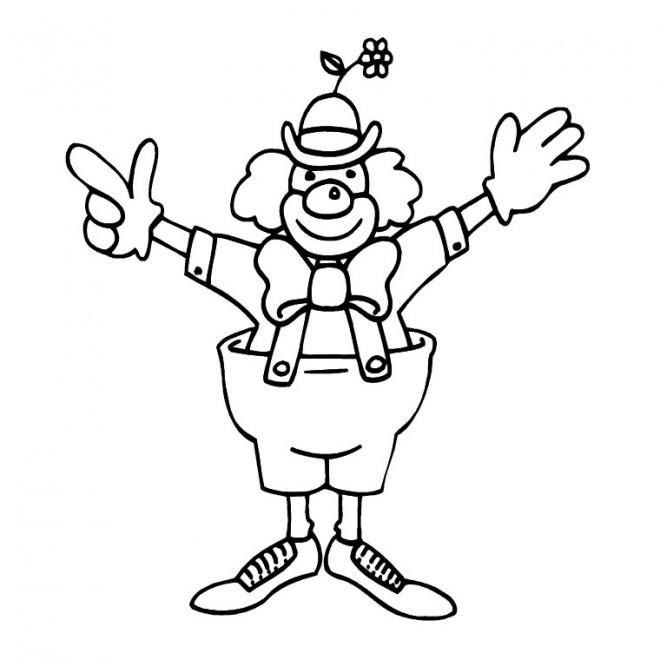 Coloriage et dessins gratuits Un clown lève ses mains à imprimer