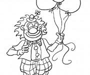 Coloriage Un Clown tout souriant portant des Ballons