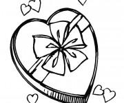Coloriage et dessins gratuit Cadeau en coeur pour Fête des Mères à imprimer