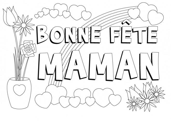 Coloriage et dessins gratuits Carte de vœux pour fête des Mères à imprimer