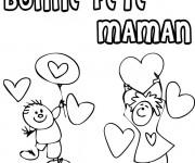 Coloriage Carte de Voeux pour offrir à Maman