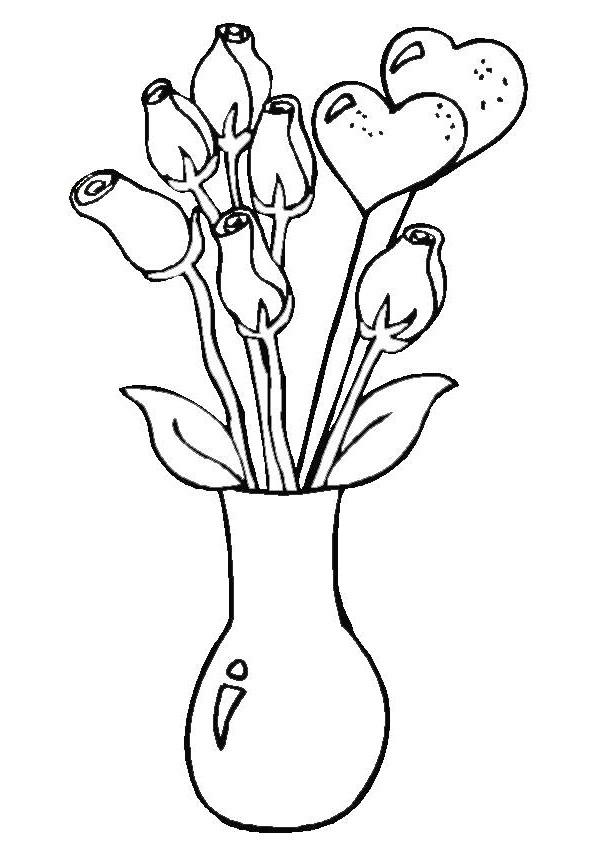 Coloriage et dessins gratuits Des Roses pour célébrer la Fête des Mamans à imprimer
