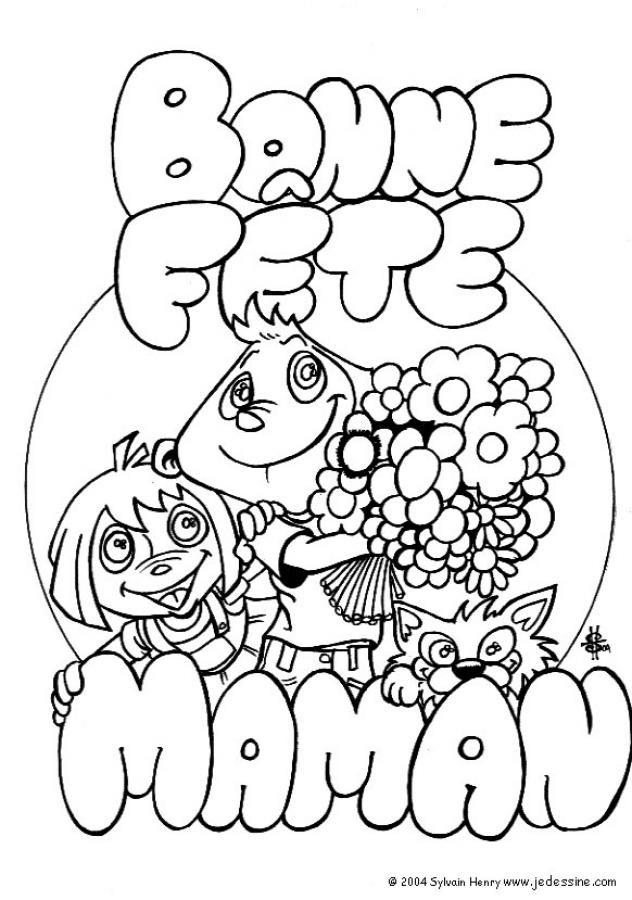 Coloriage et dessins gratuits Illustration de Fête des Mères à imprimer