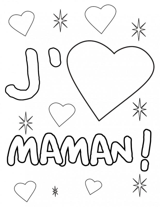 Coloriage et dessins gratuits Je t'aime Maman à imprimer