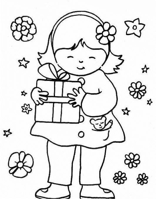 Coloriage La Fille Prend Un Cadeau Pour La Fête De Sa Maman
