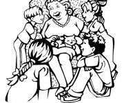 Coloriage La Mère entre ses enfants