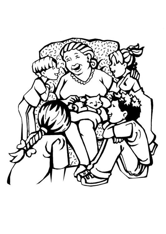 Coloriage et dessins gratuits La Mère entre ses enfants à imprimer