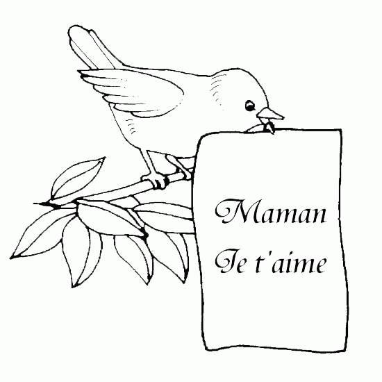 Coloriage et dessins gratuits Lettre Maman je t'aime à imprimer