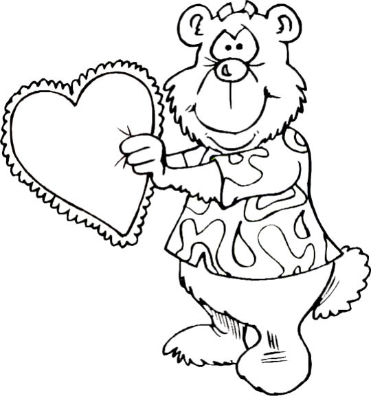Coloriage et dessins gratuits Ours portant un coeur pour Maman à imprimer