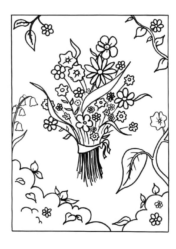 Coloriage et dessins gratuits Un Bouquet de fleurs pour Maman à imprimer