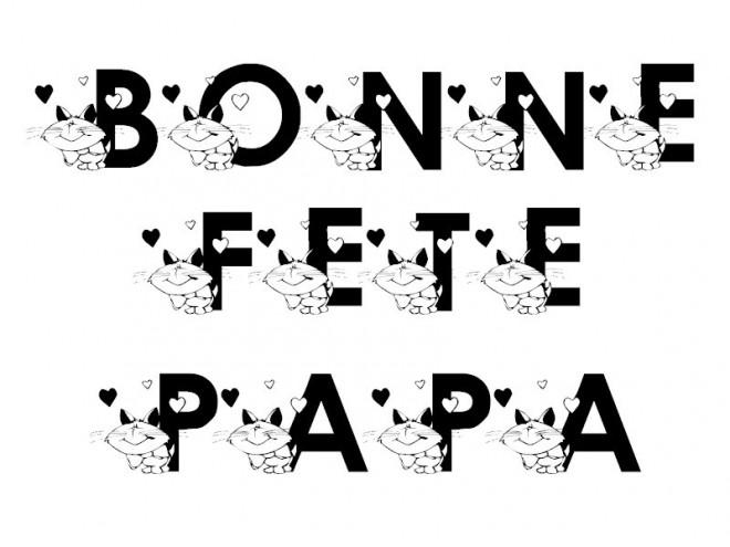 Coloriage Bonne Fête Papa En Noir Dessin Gratuit à Imprimer