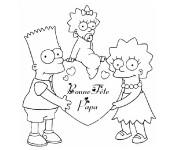 Coloriage et dessins gratuit Bonne Fête Papa Simpsons à imprimer