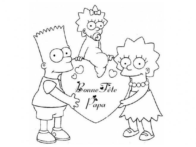 Coloriage Bonne Fête Papa Simpsons Dessin Gratuit à Imprimer