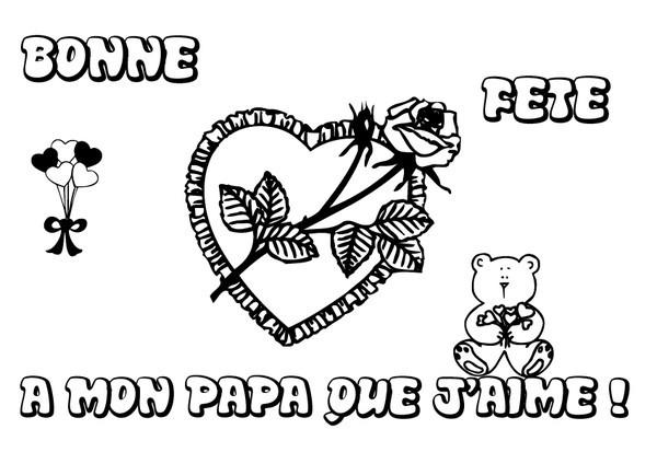 carte pour la fête des pères Coloriage Carte de souhait pour la fête des Pères