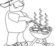 Coloriage Fête des Pères barbecue