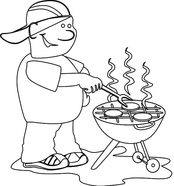 Coloriage et dessins gratuits Fête des Pères barbecue à imprimer