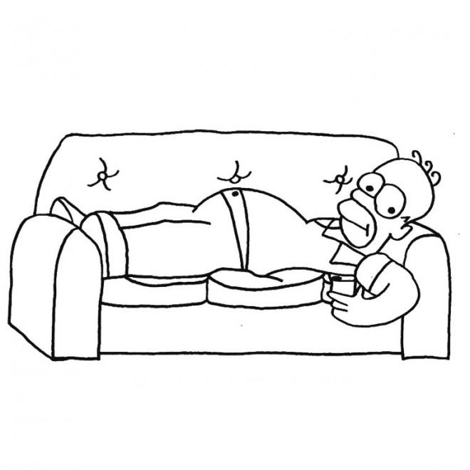 Coloriage et dessins gratuits Fête des Pères Simpsons à imprimer