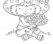 Coloriage et dessins gratuit La Fille collecte des fleurs pour Papa à imprimer