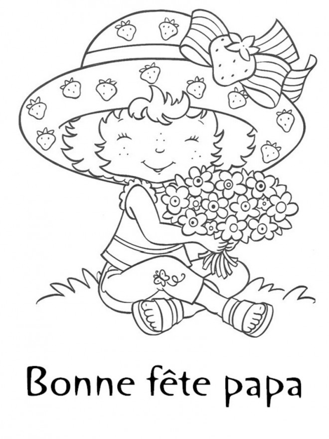 Coloriage et dessins gratuits La Fille collecte des fleurs pour Papa à imprimer