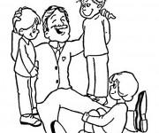 Coloriage Le Père entre ses petits