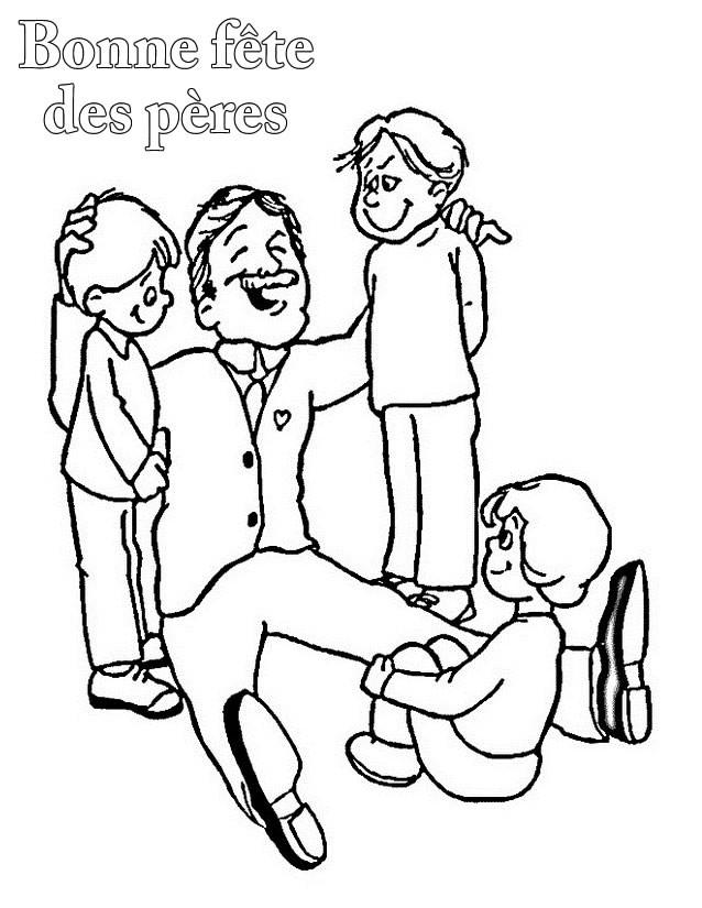 Coloriage et dessins gratuits Le Père entre ses petits à imprimer