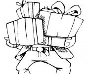 Coloriage et dessins gratuit Papa reçoit de cadeaux pour sa fête à imprimer
