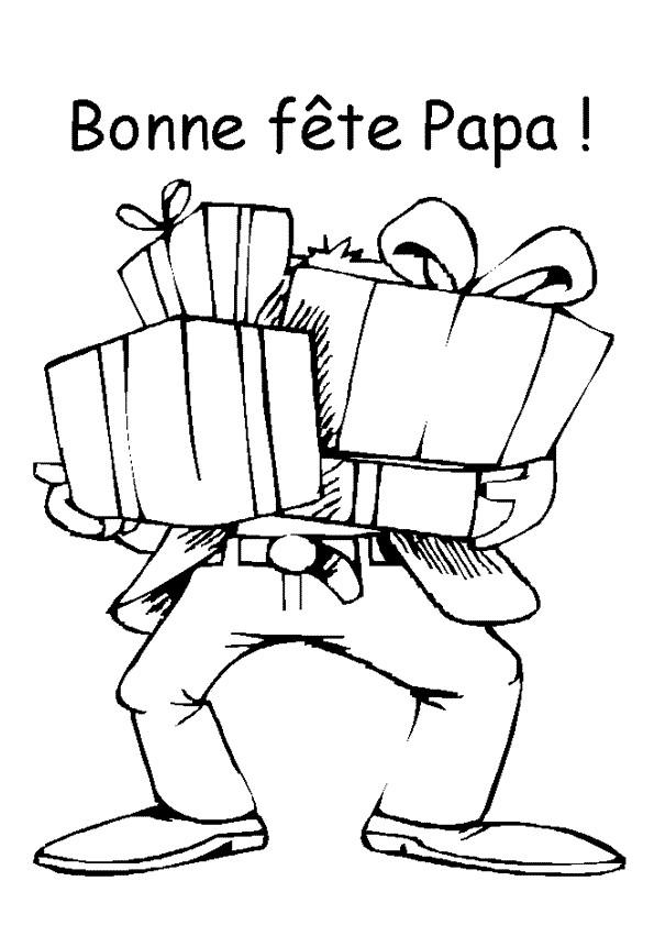 Coloriage Papa Reçoit De Cadeaux Pour Sa Fête