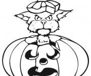 Coloriage Chat dans La Citrouille Halloween