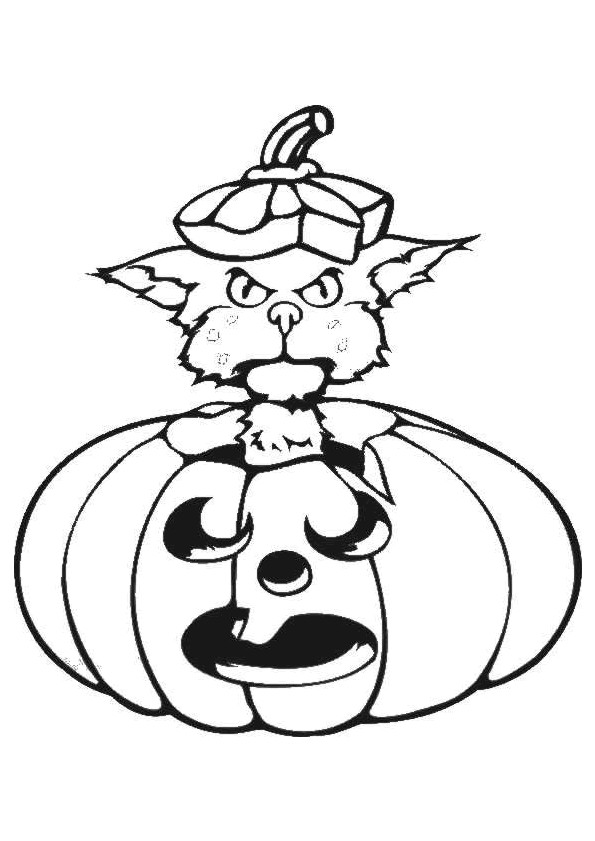 Coloriage et dessins gratuits Chat dans La Citrouille Halloween à imprimer