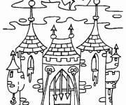 Coloriage Chateau Halloween adulte