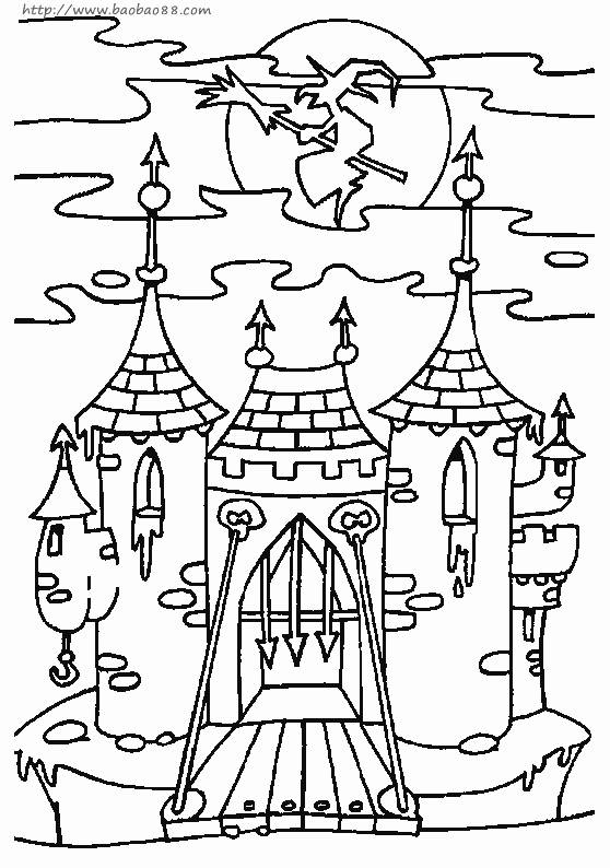 Coloriage et dessins gratuits Chateau Halloween adulte à imprimer