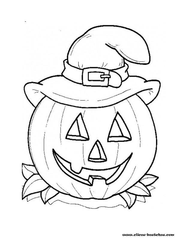 Coloriage dessin de citrouille facile dessin gratuit imprimer - Citrouille halloween dessin ...