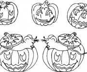 Coloriage et dessins gratuit Famille Citrouilles Halloween à imprimer