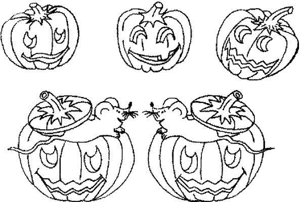 Coloriage et dessins gratuits Famille Citrouilles Halloween à imprimer