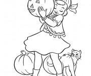 Coloriage Fille mignonne en Halloween