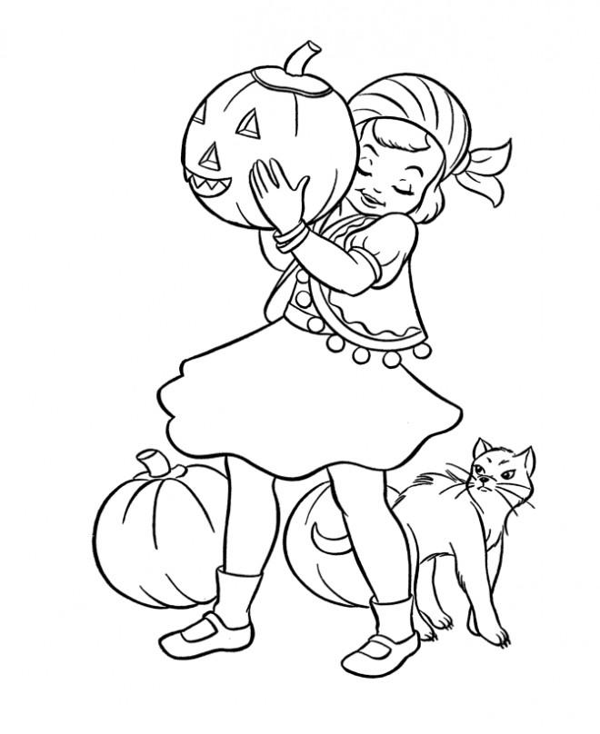 Coloriage et dessins gratuits Fille mignonne en Halloween à imprimer