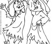 Coloriage et dessins gratuit Halloween 2 sorcières font la fête à imprimer