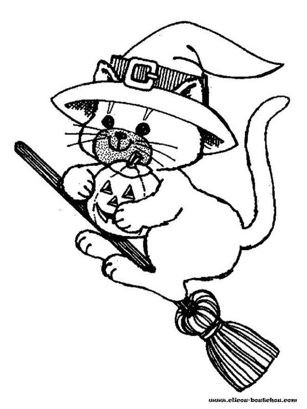 Coloriage halloween chat noir de sorci re dessin gratuit - Chat facile et gratuit ...