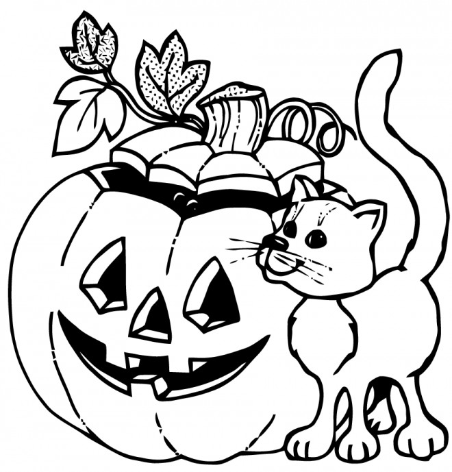 Coloriage et dessins gratuits Halloween chat noir et citrouille à imprimer