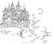 Coloriage et dessins gratuit Halloween Château hanté à imprimer