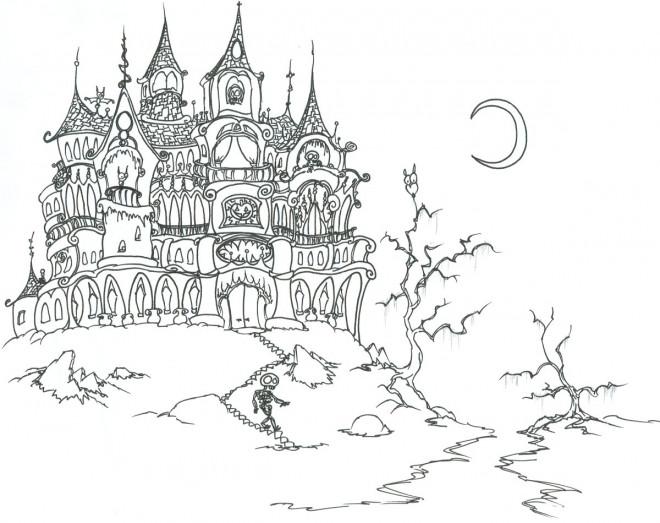 Coloriage Chateau Sorciere.Coloriage Halloween Chateau Hante Dessin Gratuit A Imprimer