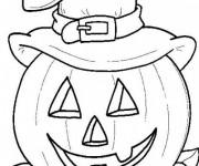 Coloriage et dessins gratuit Halloween, citrouille et chapeau de sorcière à imprimer