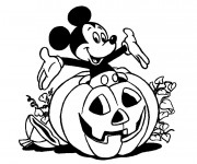 Coloriage Halloween, citrouille et Mickey