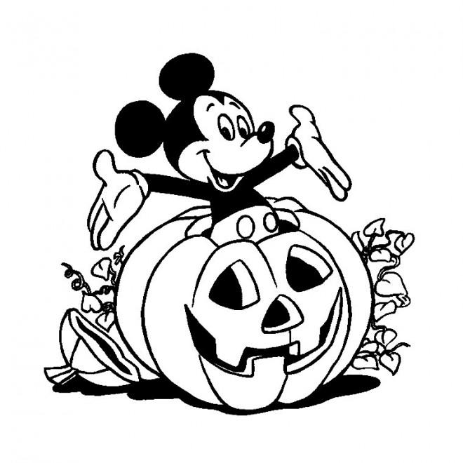 Coloriage et dessins gratuits Halloween, citrouille et Mickey à imprimer
