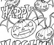 Coloriage et dessins gratuit Halloween Citrouilles et chauve-souris à imprimer