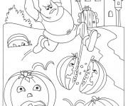 Coloriage et dessins gratuit Halloween et le chasseur de citrouilles à imprimer