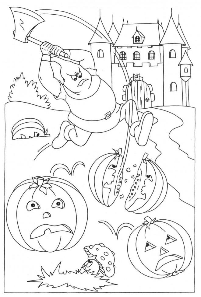 Coloriage et dessins gratuits Halloween et le chasseur de citrouilles à imprimer