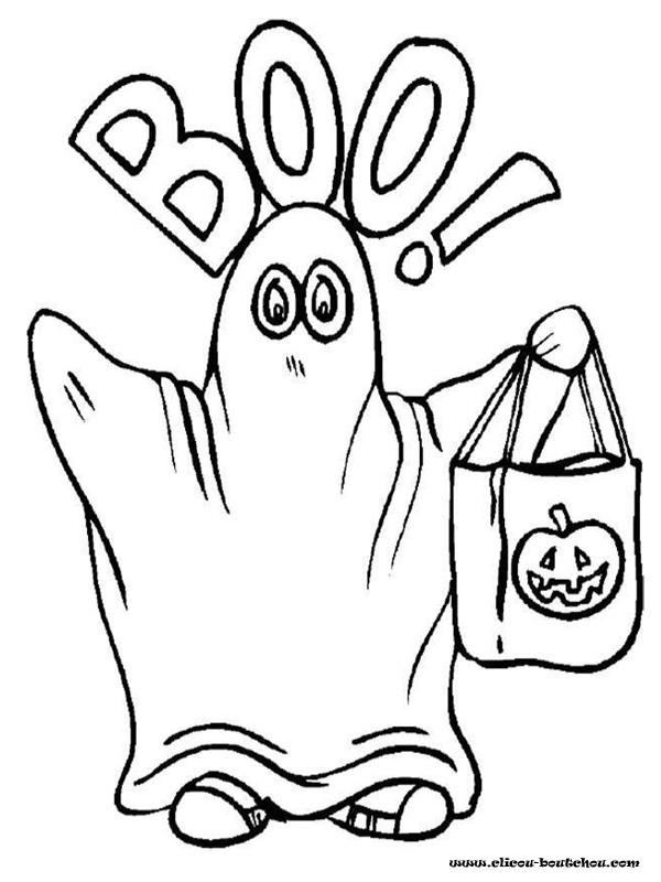Coloriage et dessins gratuits Halloween fantôme maternelle à imprimer