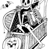 Coloriage et dessins gratuit Halloween Le coffre au squelette à imprimer
