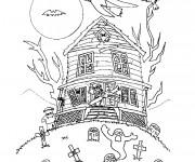 Coloriage Halloween Maison hantée à colorier